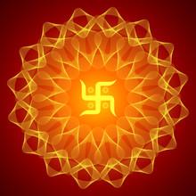 Spirituele Swastika op de mandala Backgound