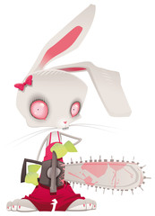 Horror bunny. Vector and cartoon illustration.