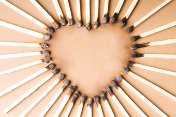 heart shape from matches