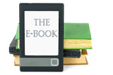 Modern ebook reader and old paper books poster