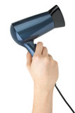 Compact blue hairdryer in hand poster