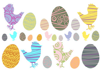 Vector illustration of easter eggs and chicken
