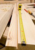 Carpentry tape-measure with tools poster