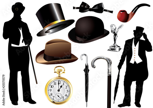 Vector Victorian gentleman set with objects and silhouette
