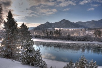 Katun river. Altai mountains Russia. HDR