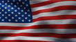 Creased united states  cotton  flag in wind in slow motion