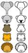 Vector illustration set of different cartoon wild/zoo animals.