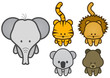 Vector illustration set of different cartoon wild/zoo animals.