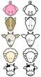 Vector illustration set of different cartoon farm animals.