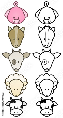 Vector illustration set of different cartoon farm animals.
