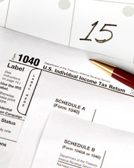 Tax day is April 15th with date highlighted - vertical