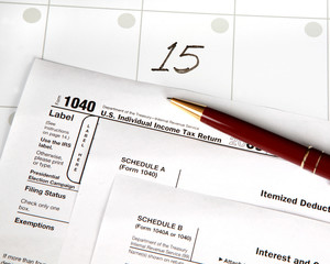 Tax day is April 15th with date highlighted on calendar