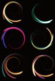 Blurry abstract neon spinning spirals. EPS10 transparency. poster