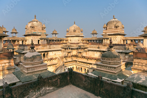 architecture of Orchha's Palace, India.