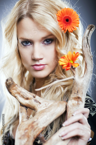 Leinwandbilder,frau,lächelnd,blume,hairstyle