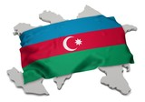 realistic ensign covering the shape of Azerbaijan ( Azərbaycan ) poster