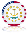 Rhode Island State Round Flag Web Button (USA Vector Reflection)