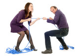 fighting couple pulling rope