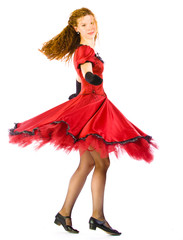 Woman dance in red dress