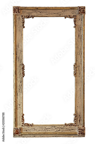 Empty picture wooden retro frame isolated on a white background