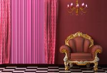 Barok, rokoko stylu wnętrza wyposażone w zabytkowe żyrandol.