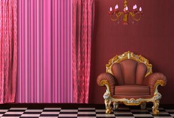 Baroque, Rococo style vintage interior featuring a chandelier.