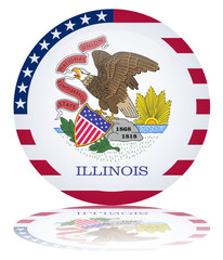 Illinois State Round Flag Button (USA America Vector Reflection)