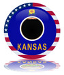 Kansas State Round Flag Button (Kansan USA America Vector Web)