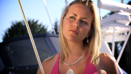Portrait of beautiful girl on yacht