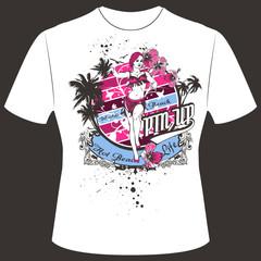 T-Shirt Print Pinup Girl Beach