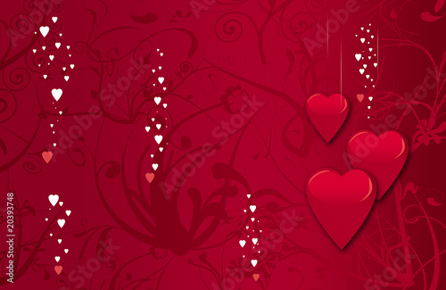 beautiful valentine card background with dropping heart