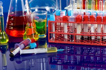 close up of syringe with test tube