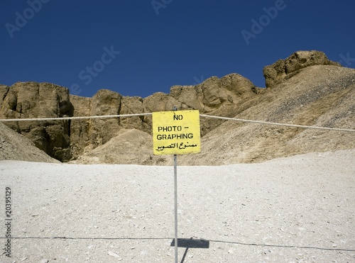 Sign prohibiting photography at Valley of the Kings. West bank of the river Nile, Thebes, UNESCO World Heritage Site, Egypt, North Africa, Africa