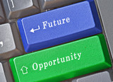 Keyboard with hot keys for opportunity and future poster