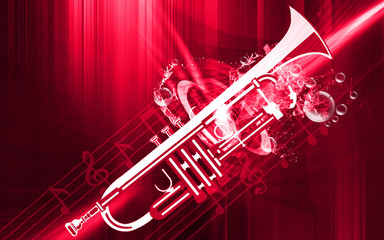 Illustration of a metallic bugle with music notes