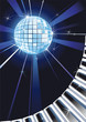 Retro Music Background with Shiny Disco Ball and Piano keys.