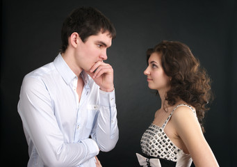 Young couple looking at each other