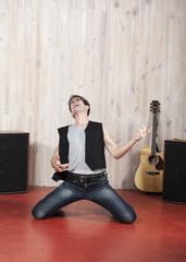 défoulement de chanteur en studio