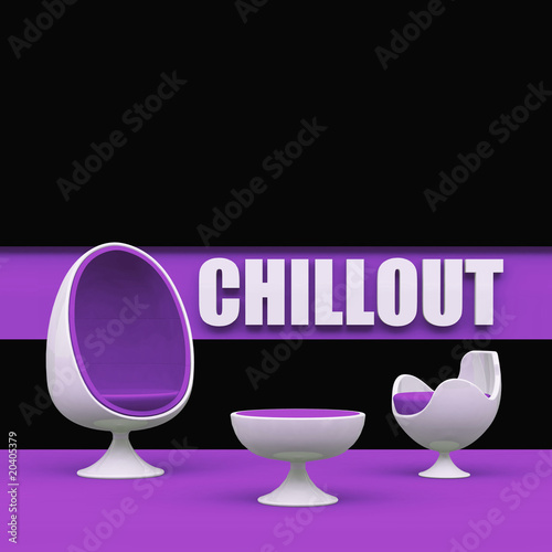 Lila Chillout area with egg chair