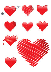 set of 9 red heart shapes including arrow, ribbon, brush stroke