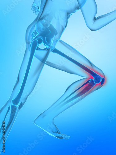 Running man with X-ray human knee