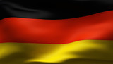 Creased German cotton flag with visible stitch poster