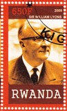 stamp shows Sir William Lyons poster