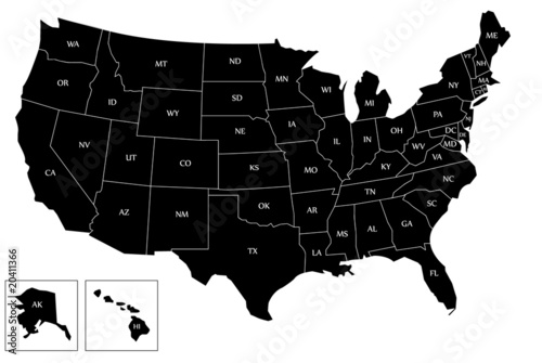 Black map of USA - 20411366