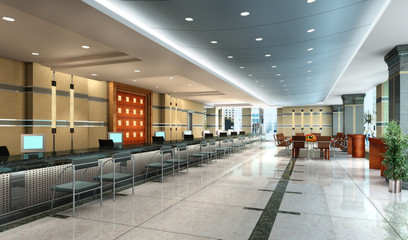 Office hall interior 3d rendering
