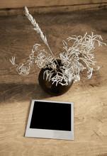 Archiwalne zdjęcie i ikebana na stół