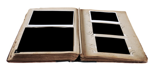Vintage photo album with blank photos