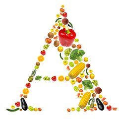 """Letter """"A"""" made of fruit and vegetable"""