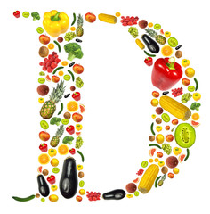 """Letter """"D"""" made of fruit and vegetable"""
