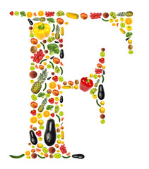 """Letter """"F"""" made of fruit and vegetable"""